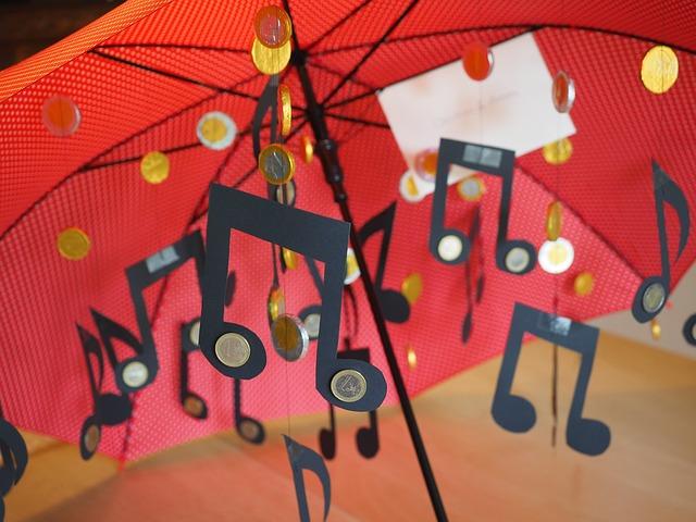 déšť, mince, deštník