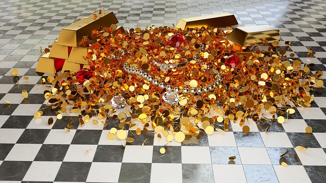 zlatý poklad, mince, šperky, šachovnice